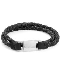 William Rast - Double Braided Leather Wristband - Lyst