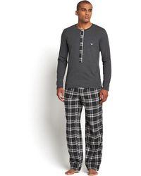 Emporio Armani Mens Check Pyjamas - Lyst