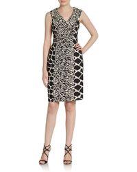 Kay Unger Mixed-Print Shawl Collar Dress - Lyst