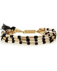 Isabel Marant Set Of Two Leather Cotton and Goldtone Bracelets - Lyst