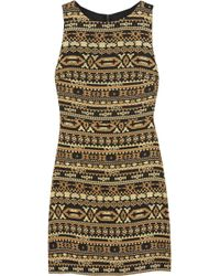 Alice + Olivia Wilcox Embroidered Crepe Dress - Lyst