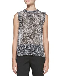 Rebecca Taylor Sleeveless Double Layer White Noise Print Top - Lyst
