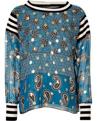 Anna Sui Silk Blend Paisley Print Top - Lyst