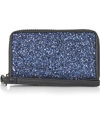 Topshop Glitter Zip-around Wallet - Lyst