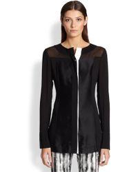 Donna Karan New York Spliced Mixed-Media Tunic black - Lyst
