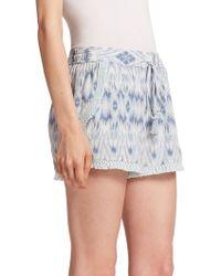 Joie Jolisa Silk Ikat-Print Shorts blue - Lyst