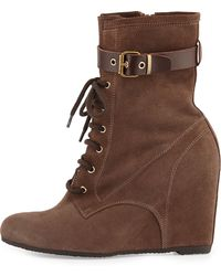 Andre Assous Fergie Suede Wedge Bootie - Lyst