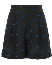 Rachel Comey Black Linen Fringe Bell Shorts - Lyst