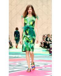 Burberry Floral-Print Silk-Blend Shift Dress - Lyst