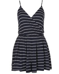 Topshop Stripe Jersey Wrap Playsuit - Lyst