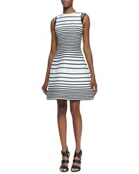 Halston Heritage Aline Striped Dress with Cap Sleeves - Lyst