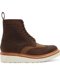 Grenson Brown Leather Shortwing Brogue Fred Boots - Lyst