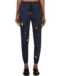 3.1 Phillip Lim Navy Cracked Pattern Lounge Pants - Lyst