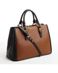 Miu Miu Brandy and Black Leather Buckle Detail Convertible Top Handle Bag - Lyst
