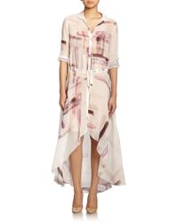 Haute Hippie Printed Silk Chiffon Shirt Dress - Lyst