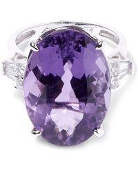 Kojis - White Gold Amethyst Diamond Shoulder Ring - Lyst