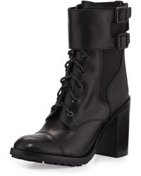 Tory Burch Broome Leather Combat Boot Black 350b50b - Lyst