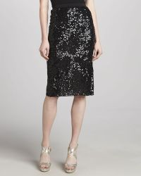 Donna Karan New York Sequined Embroidered Skirt - Lyst