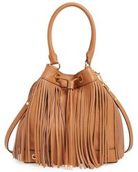 Milly Women'S 'Essex' Fringed Leather Bucket Bag - Brown - Lyst
