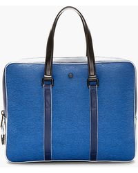 KENZO - Blue Etched Leather Briefcase - Lyst