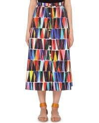 Saloni Leah Geometric-Print Skirt - For Women multicolor - Lyst