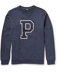 A.P.C. Printed Loopback-Cotton Sweatshirt - Lyst