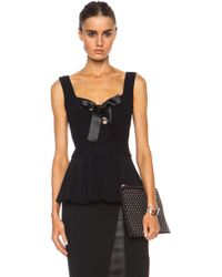 Alexander McQueen Crepe Bow Acetate-blend Top with Peplum - Lyst