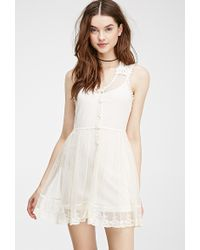 Forever 21 Embroidered Lace Dress - Lyst