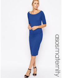 Asos Maternity Exclusive Bardot Dress With Half Sleeve - Lyst