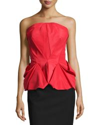 Zac Posen Fold-Pleated Peplum Bustier Top - Lyst