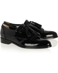 Lanvin Mila Fringed Patentleather Loafers - Lyst