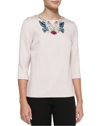 Mary Katrantzou Embroidered-neck Blouse - Lyst