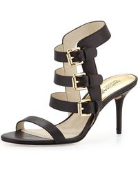 MICHAEL Michael Kors Beverly Buckle-Strap Leather Sandal - Lyst