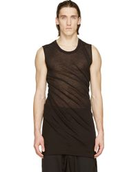 Rick Owens Black Sleeveless Jersey T_Shirt - Lyst
