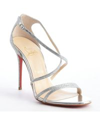 Christian Louboutin Iridescent Glitter Strappy Sandals - Lyst
