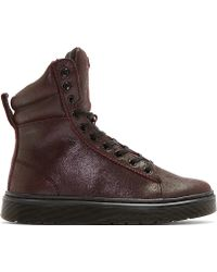 Dr. Martens Maroon Crackle Suede High_top Sneakers - Lyst