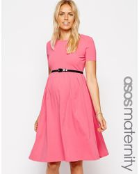 Asos Maternity Midi Skater Dress with Belt - Lyst