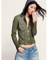 Doma Green Hood Leather Jacket - Lyst