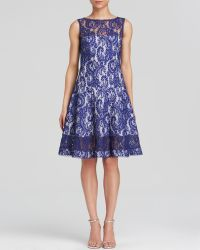 Tadashi Shoji Dress - Sleeveless Illusion Neck Lace Fit And Flare - Lyst