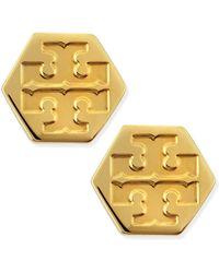 Tory Burch Hexagon Logo Stud Earrings - Lyst