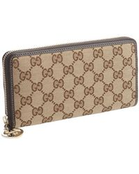 Gucci Brown Ssima Canvas Zip Top Continental Wallet - Lyst