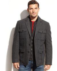 Tommy Hilfiger Wool-Blend Melton Quilted-Bib Blazer Coat - Lyst