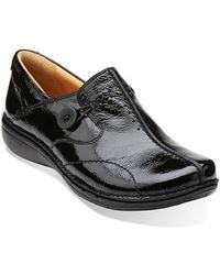 Clarks | Un. Loop Patent-Leather Slip-Ons | Lyst