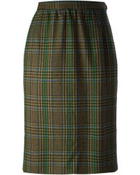 Yves Saint Laurent Vintage Checked Skirt - Lyst