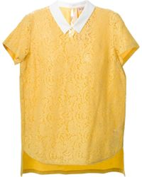 N°21 Collared Lace Top - Lyst
