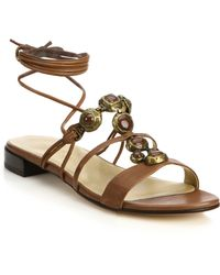 Stuart Weitzman | Stoned Lace-up Leather Sandals | Lyst