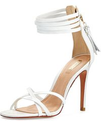 Schutz Strappy Tassel Leather Sandal - Lyst