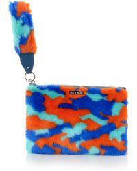 House of Holland Hand Cuff Clutch Blue & Orange Camo - Lyst