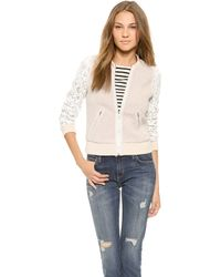 Rebecca Taylor Textured Bomber with Lace Sleeves Oatmeal - Lyst