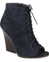 Burberry Virginia Peep Toe Wedge Heels - For Women blue - Lyst